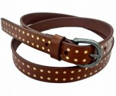 S-A8.3 HM-080 Leather Belt with Gold Dots 2x95cm