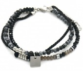A-E8.3 B010-036S Layered S. Steel with Stones Bracelet