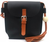 Y-D4.1 BAG535-002A PU Crossbody Bag with Tassel 20x18x6.5cm Black