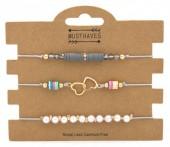 D-A7.3 B316-004 Bracelet Set 3pcs Heats and Beads Grey
