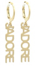 E-A4.4 E-C6.5 E220-005 S. Steel Earrings JAdore1x2.5cm Gold