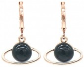 C-E16.5 E532-002R Earring Planet Black-Rose Gold