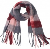 Y-C1.4 SCARF405-060E Soft Checkered Scarf Pink-Grey