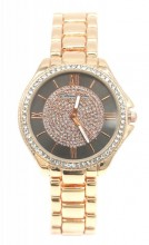 C-E6.4 W003-007 Metal Quartz Watch with Crystals 33mm Rose Gold