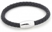 F-D5.1 B105-004 Leather Bracelet with Stainless Steel Lock 19cm Black