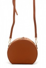 K-F8.1 BAG215-001 Round PU Bag with Large Handle Brown 18x15x9 cm