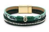 C-D19.1  B1633-010C PU Bracelet Leopard with Crystals Green