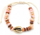 B302-004 Bracelet with Shell and Stones Pink