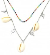C-D9.1 N301-033 Layered S. Steel Necklace Shells-Palmtrees Multi Color - Silver