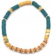 E-D18.3 B1941-001E Surf Bracelet with Metal Beads Blue-Yellow