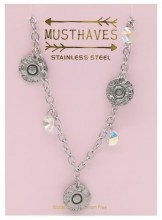 G-E7.5 N2053-002 S. Steel Necklace Coins 36-39cm For Kids