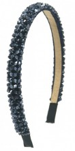 S-F5.4 H004-001E Headband with Faceted Glass Beads Dark Blue