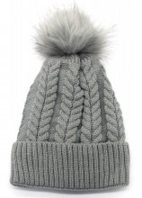 T-F8.2 HAT003-003E Hat with Fake Fur Pompon Grey