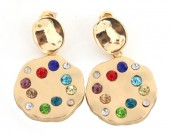 C-B6.2 E426-016 Earrings with Multi Color Crystals 35x20mm Gold