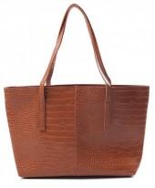 Y-A5.5 BAG417-004B PU Shopper Croco 44x30x10cm Brown