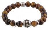 A-C20.4 S. Steel Bracelet with Semi Precious Stones Brown