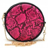 T-B3.1 BAG322-001 Combination Bum-Shoulder Bag Leopard incl Belt 14x14x6cm Pink