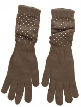 S-B6.1 Long Gloves with Crystals Brown