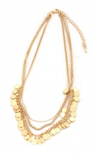 C-B16.3 N223-005 Necklace with Metal Chains and Small Coins Gold