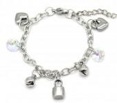 F-E8.3  B2053-014 S. Steel Bracelet Hearts and Lock 14-17cm For Kids