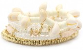 G-C15.1  B536-056B Bracelet with Shells Gold-White