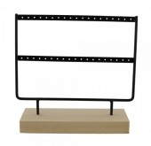 R-I7.2 PK424-004 Wood with Metal Earring Display Black 23x22x7cm