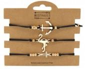 F-D5.1 B316-044 Bracelet Set 3pcs Flamingo-Anchor-Cross Black
