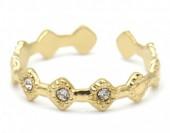 C-B4.2  R110231G S. Steel Ring Crystals Adjustable Gold