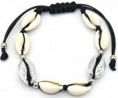 I-E19.2 B2001-026A Bracelet with Shells Silver-Black