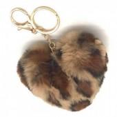 F-B22.1 KY414-001I Fluffy Keychain Heart Leopard Brown