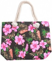 Y-D1.3 BAG217-002 Beach Bag Flowers 43x34cm Black