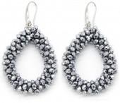 C-E10.1  E007-001 Facet Glass Beads 4.5x3.5cm Silver