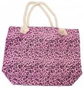 BAG217-001 Soft Beach Bag with Leopard Print 43x34cm Pink