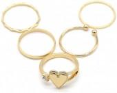 A-C18.5 R426-001G Ring Set 5pcs Gold #17