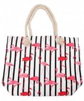 K-A2.1 BAG217-002 Striped Beach Bag with Flamingos 43x34cm White