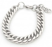 A-D2.3 B126-006S Stainless Steel Chain Bracelet Silver