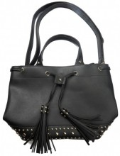Y-C3.2 BAG535-003A PU Bag Tassels and Studs 36x25x15cm Black