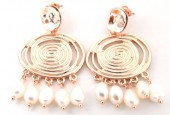 B-B4.5 E426-015 Earrings with Freshwater Pearls 40x30mm Rose Gold