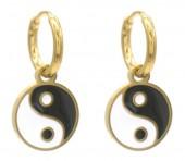 B-F18.5 E221-200G S. Steel Earrings Yin-Yang 1x2cm Gold