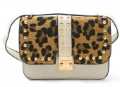 X-P3.2 BAG009-008 Trendy PU Bag with Studs and Leopard Print Beige 20x20x6 cm