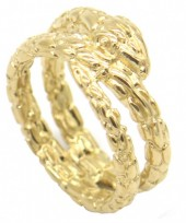 A-C6.4 R519-007G Stainless Steel Ring Snake Gold #17