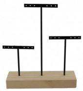 Z-C5.2 PK424-002 Wood with Metal Earring Display 22x18x5cm