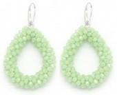B-F9.1 E007-001 Facet Glass Beads 4.5x3.5cm Green