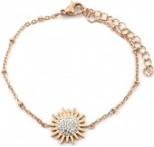 D-C5.2 B2020-003RG S. Steel Bracelet 15mm Flower with Crystals Rose Gold