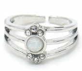 F-E8.2 R532-012S Adjustable Ring with Crystals Silver