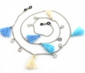 B-C18.5 GL291 Sunglass Chain with Coins and Tassels Beige-Blue