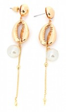 B-A3.3  E304-034 Earrings with Metal Shell and Pearl 8.5x2cm Gold