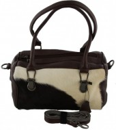 T-G1.1 BAG-953 Leather Bag 30x23x11cm Dark Brown with Mixed Color Cow Hide