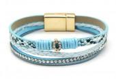 C-A17.4 B1633-010L PU Bracelet Leopard with Crystals Blue