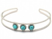 B-D1.2 B2033-012S S. Steel Bangle with Turqoise Stones Silver